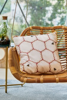 The Chateau by Angel Strawbridge Honeycomb Bees Piped Cushion