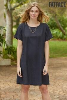 FatFace Blue Simone Linen Blend Dress