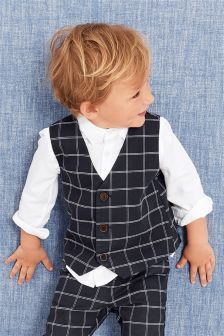 Check Waistcoat And Shirt Set (3mths-6yrs)