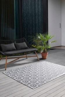 Grey Vinyl Tiles Indoor/Outdoor Rug