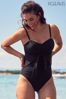 Figleaves Black Icon Sienna Underwired Bow Front Swimsuit