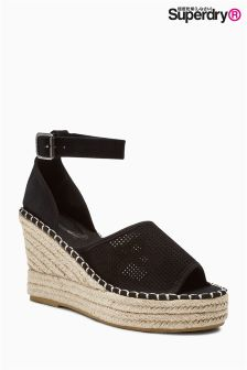 Superdry Black Anna Wedge Espadrille