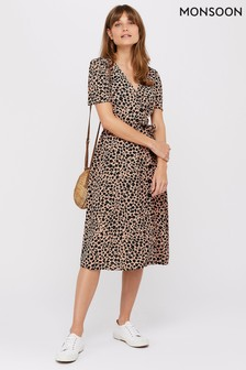 Monsoon Ladies Pink Margot Animal Print Button Dress