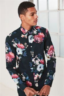 Floral Photographic Print Slim Fit Shirt