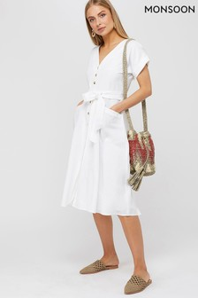 Monsoon Ladies White Louise Linen Button Midi Dress