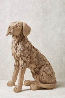 XL Wood Effect Dog Sculpture