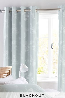 Floral Blackout Lined Eyelet Curtains