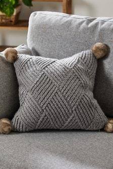 Knitted Pom Pom Square Cushion