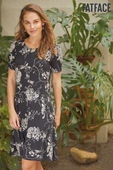 فستان أسود زهور شرقية Simone من FatFace