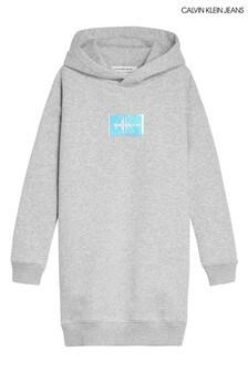 Calvin Klein Jeans Grey Monogram Badge Hoody Dress