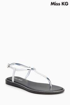 Miss KG Silver Delta Toe Thong Sandal
