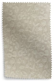 Natural Leaf Trail Jacquard Multi Header Curtain Fabric Sample