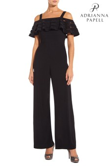 Adrianna Papell Black Banded Off Shoulder Jumpsuit