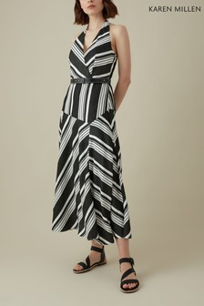 Karen Millen Black Dina Striped Halter Sun Dress