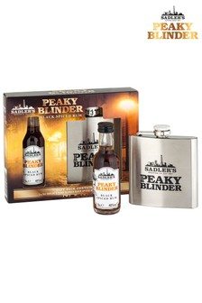 Spiced Rum 5cl And Hip Flask Gift Set by Peaky Blinders