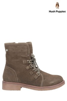 Hush Puppies Green Milo Zip Ankle Boots