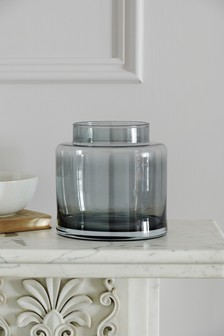 Smoke Grey Glass Vase