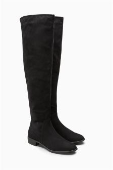Next Ladies Black Suede Flat Over The Knee Boots UK Size 5