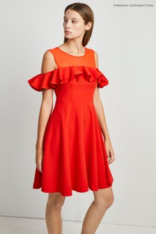 French Connection Red Alissa Flare Cold Shoulder Dress