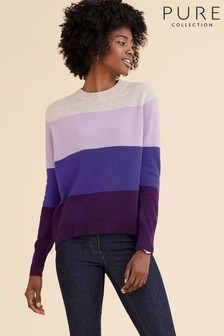 Pure Collection Purple Cashmere Curved Hem Boyfriend Sweater