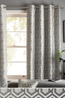 Geo Jacquard Studio* Eyelet Curtains
