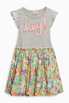 Floral Slogan Dress (3-16yrs)