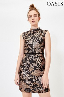 Oasis Black Oriental Jacquard Dress