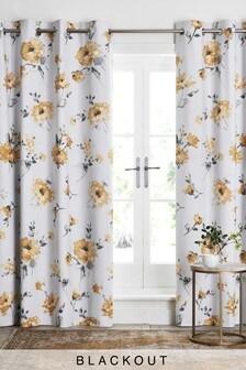 Eden Ochre Floral Eyelet Curtains
