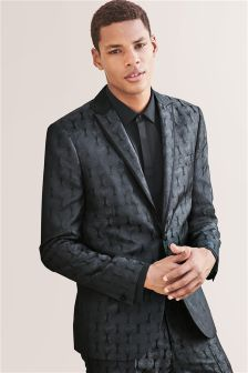 Patterned Jacquard Skinny Fit Tuxedo Suit