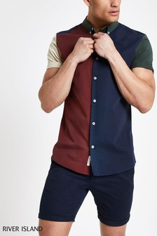 River Island Navy Colourblock Shirt
