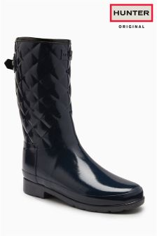 Hunter Original Navy Gloss Refined Quilted Short Welly