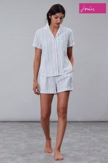 Joules Cream Meggie Seersucker Classic Short Pyjama Set