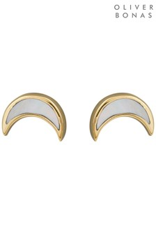 Oliver Bonas Neo Mother Of Pearl Moon Gold Plated Stud Earrings