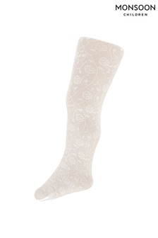 Monsoon Ivory Baby Rose Trelis Tights
