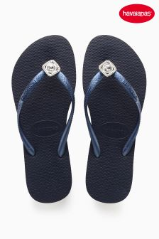 Havaianas® Slim Crystal Poem Navy Metallic Flip Flop