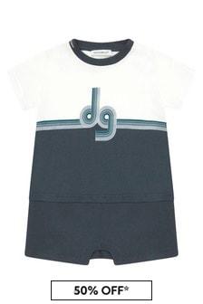Dolce & Gabbana Kids Baby Boys Navy Cotton Romper