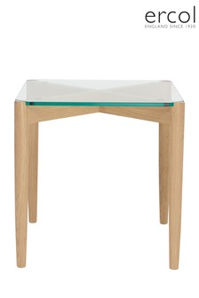 Ercol Glass And Oak Side Table