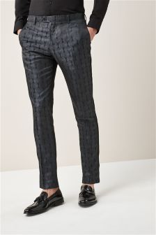 Patterned Jacquard  Skinny Fit Tuxedo Suit: Trouser