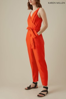 Karen Millen Red Waist Collection Jumpsuit