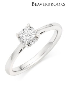 Beaverbrooks 18ct White Gold Princess Cut Diamond Halo Ring