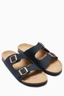 Кожаные сандалии с двумя пряжками
