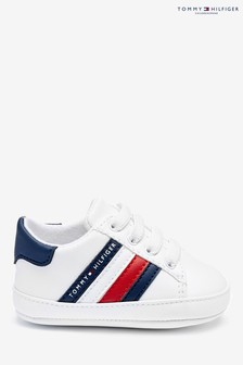 Tommy Hilfiger White Global Stripe Baby Trainers