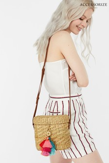Accessorize Nude Binocular Straw Cross Body Bag