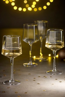 Angular Set of 4 Wine Glasses