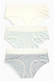 Lace Trim Modal Shorts Three Pack