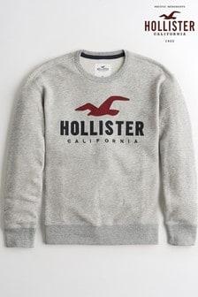 Серый джемпер с вырезом под горло и логотипом Hollister