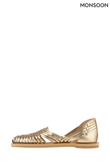 Monsoon Ladies Gold Holly Huarache Sandals