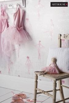 Arthouse Pink Children's Pirouette Ballet Wallpaper