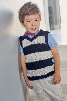 Knitted Tank, Shirt And Bow Tie Set (3mths-6yrs)