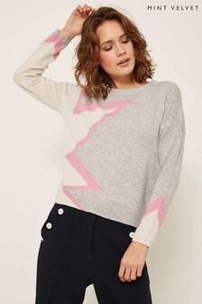 Mint Velvet Grey Blocked Abstract Star Knit